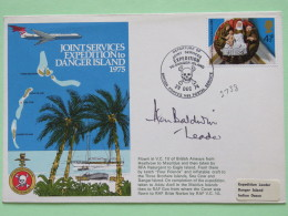 Great Britain 1974 Signed Military Special Cover From Heathrow To Mauritius Danger Island - Plane - Mat Coconut Skull Ch - 1952-.... (Elizabeth II)