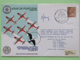 Great Britain 1977 Signed Military Special Cover From Greenham Common To U.K. - Plane - Air Tattoo - Machin - 1952-.... (Elizabeth II)