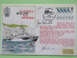 Great Britain 1977 Signed Military Special Cover From Hendon To U.K. - Ship - Birds Geese Christmas - 1952-.... (Elizabeth II)