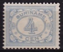 SURINAME 1913-31 Type Cijfer 4 Cent Ultramarijn NVPH 76 Ongestempeld - Suriname ... - 1975