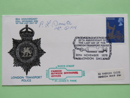 Great Britain 1978 Signed Police Special Cover From Baker Street To Hendon U.K. - Medal Lion Queen Coronation - 1952-.... (Elizabeth II)