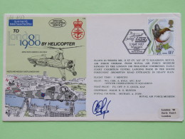 Great Britain 1980 Signed Military Special Cover From Hendon To U.K. - Helicopter - Bird - London Olympics Cancel On Bac - 1952-.... (Elizabeth II)