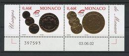 MONACO 2002 N° 2356/2357 ** Neufs MNH Superbes Cote 3.60 € Pièces De Monnaies Monégasques Euros - Monaco