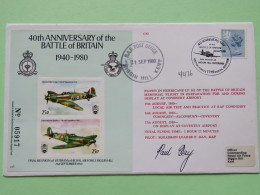 Great Britain 1980 Signed Military Special Cover From BiggIn HiLL To U.K. - Planes Special Labels Souvenir Sheet  - Mach - 1952-.... (Elizabeth II)
