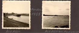 Lot De 2 Petites Photos Originales De Bateau Péniche & Tourisme à Verden En 1955 - Allemagne - Basse Saxe - 27283 - Bateaux