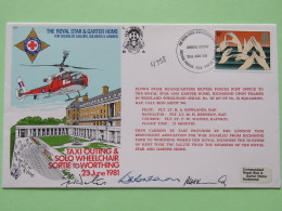 Great Britain 1981 Signed Military Special Cover From Royal Star To U.K. - Helicopter - Sign Language - Hands - Red Cros - Covers & Documents