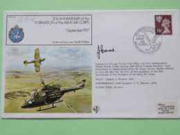Great Britain 1982 Signed Military Special Cover From Middle Wallop To U.K. - Plane - Helicopter - Eagle - Machin Lion - Covers & Documents