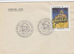 PREMIER JOUR VAN GOGH EGLISE D'AUVERS SUR OISE.  27/1979   N° 2054 SEUL - Poststempel (Briefe)