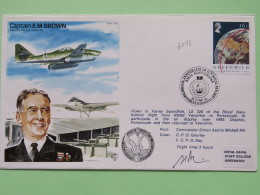 Great Britain 1984 Signed Military Special Cover From Yeovilton Around HMS Dolphin To U.K. - Plane - Greenwich Meridian - Covers & Documents