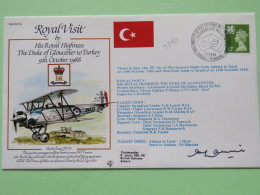 Great Britain 1988 Signed Military Special Cover From Ankara Turkey To Izmir - Istambul - Plane - Royal Visit - Turkey F - Covers & Documents