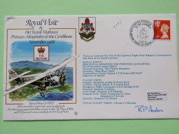 Great Britain 1988 Signed Military Special Cover From Nassau Bahamas To Georgetown And Grand Cayman - Plane - Royal Visi - 1952-.... (Elizabeth II)