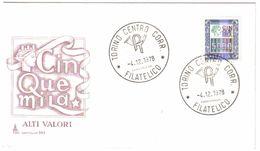 ITALIA ALTI VALORI 5000 LIRE BUSTA PRIMO GIORNO 04 12 1978 C.795 - 6. 1946-.. Repubblica