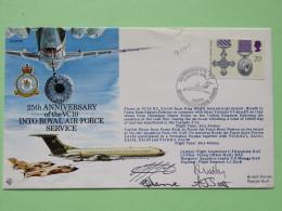 Great Britain 1991 Signed Military Special Cover (Gulf War) From Riyadh Saudi Arabia To Palermo Italia - Plane - Medal S - 1952-.... (Elizabeth II)