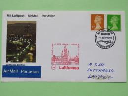 Great Britain 1993 First Flight Card From London To Leipzig Germany - Lufthansa Plane - Machin - 1952-.... (Elizabeth II)