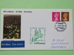 Great Britain 1993 First Flight Card From London To Dresden Germany - Lufthansa Plane - Machin - 1952-.... (Elizabeth II)