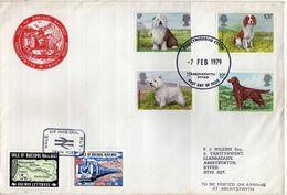 Great Britain.FDC ( Big Envelope ) 1979.Dogs And VALE OF RHEIDOL RAILWAY Aberystwyth - Devil's Bridge.Train Post.map. - Covers & Documents
