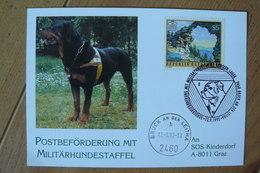 Autriche - Oblitération Commémorative Du 12/09/1992 - Chien Militaire Transport De Courrier - Rottweiler - Armée - Chiens