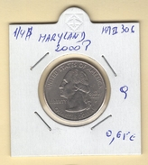 """USA. 1/4 $ """"Maryland 2000 P"""" (a). KM #306. Qualité. - 1999-2009: State Quarters"""