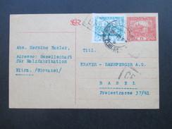 Slovakei / Tschechoslowakei 1920 GA Mit Zusatzfrankatur. Zensurpost / Censura. Nitra - Basel Schweiz. Malzfabrikation - Tschechoslowakei/CSSR