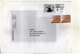 Switzerland ( Big Envelope ) 2013post Label And Nice Stamps Via Macedonia - Switzerland
