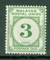 Malayan Postal Union: 1951/63   Postage Due   SG D16     3c   [Perf: 14]    MH - Malayan Postal Union