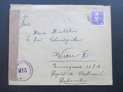 Tschechoslowakei 1946 Nach Wien Mit Stempel Österreichische Zensurstelle 215 W. Zensurpost - Briefe U. Dokumente