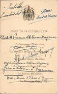Menu D'un Diner Du 14 Octobre 1934 Avec Les Autographes Du Comte De Paris Et De Sa Famille - Autographs
