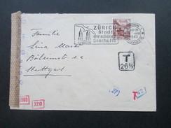 Schweiz 1943 Zensurpost Mehrfachzensur Der Wehrmacht.OKW. T 26 2/3. 2 T Stempel. Toller Beleg!! Nachporto - Briefe U. Dokumente