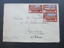 Schweiz 1942 Altstoffverwertung Nr. 405 - 407 ZD2 Bern - Strassburg. Zensur Der Wehrmacht / Mehrfachzensur. Geöffnet. - Briefe U. Dokumente