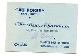 "Calais Carte Note ""Au Poker"" Café Hotel  Charniaux - Collections"