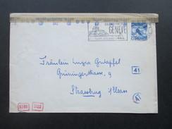 Schweiz 1944 Mehrfachzensur / 5-fach Zensur Der Wehrmacht. Nr. 303 EF. Geneve - Strassburg. Geöffnet OKW (d) - Briefe U. Dokumente