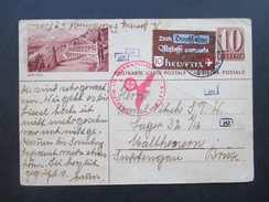 Schweiz 1942 Michel Nr. 405 Zusatzfrankatur Auf Bildganzsache. 5-fach Zensur Der Wehrmacht. In Den Sudetengau!! - Briefe U. Dokumente