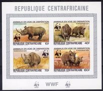 Centrafrica 1983, WWF, Rhino, 4val In BF IMPERFORATED - Rhinozerosse