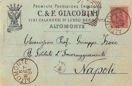 "06359 ""(CS) ALTOMONTE - PREM.PRODUZ. EONOLOGICA - C. & F. GIACOBINI""   CART POST PUBBL.1994 - Pubblicitari"