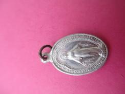 Petite Médaille Religieuse Ancienne /Vierge /ô Marie.../ Monogramme /Début XXéme Siécle     CAN441 - Religion & Esotericism