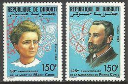 DJIBOUTI 1985 MEDICAL PIERRE & MARIE CURIE PHYSICISTS SET MNH - Djibouti (1977-...)