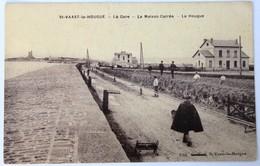 CPA Rare 50 Saint Vaast La Hougue Gare Maison Carrée Tampon Librairie V. Baudry - Saint Vaast La Hougue