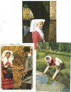 Folklore D'Isle 3 Cartes Postales- Lavandière; Coiffe (C.459) - France