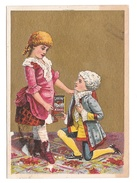 Victorian Trade Card Lavine Soap Colonial Girl And Boy On Knee Hartford Chemical Co. CT - Trade Cards
