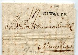 LIVOURNE Pour MARSEILLE LAC Du 29/10/1734  Linéaire  D ITALIE  Taxe De 14 (2 Scans) - Postmark Collection (Covers)
