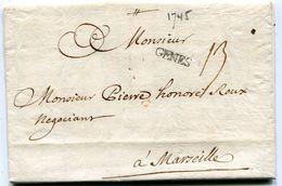 LIVOURNE Pour MARSEILLE LAC Du 22/10/1745  Linéaire  GENES  Taxe De 13 (2 Scans) - Postmark Collection (Covers)