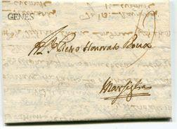 ANCONE Pour MARSEILLE LAC Du 15/11/1748  Linéaire  GENES  Taxe De 13 (2 Scans) - Postmark Collection (Covers)