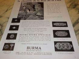 ANCIENNE PUBLICITE DIAMANTS BURMA 1933 - Bijoux & Horlogerie