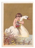Victorian Trade Card Lavine Soap Child Swan Gold Background Hartford Chemical Co CT - Trade Cards