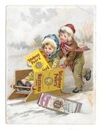 Victorian Trade Card Stickney & Poor's Mustard Spices Boston MA Children Boy Girl Sledding - Other