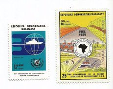 1990 Malagasy Madagascar IMO International Maritime Organisation + OAU   Complete Set Of 2  MNH - Madagascar (1960-...)