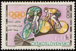 Czechoslovakia / Stamps (1964) 1394: XVIII. Summer Olympics Tokyo 1964 (cycling); Painter: Anna Podzemna - Cyclisme