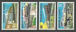 DJIBOUTI 1979 TRAINS RAILWAYS SHIPS BRIDGES ADDIS ABABA RAILWAY SET MNH - Djibouti (1977-...)