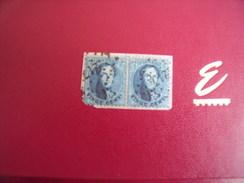 Timbres  ( 11)  Belgique  Cob N°15 B  Paires Oblitérés 217 Belles Marge Tache  Blanche T Gauche - 1863-1864 Médaillons (13/16)