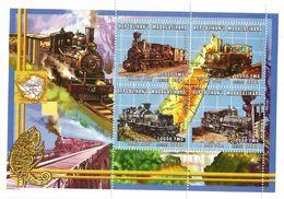 2000 Malagasy Madagascar Trains Railways Complete Set Of 8 Sheets  MNH - Trains